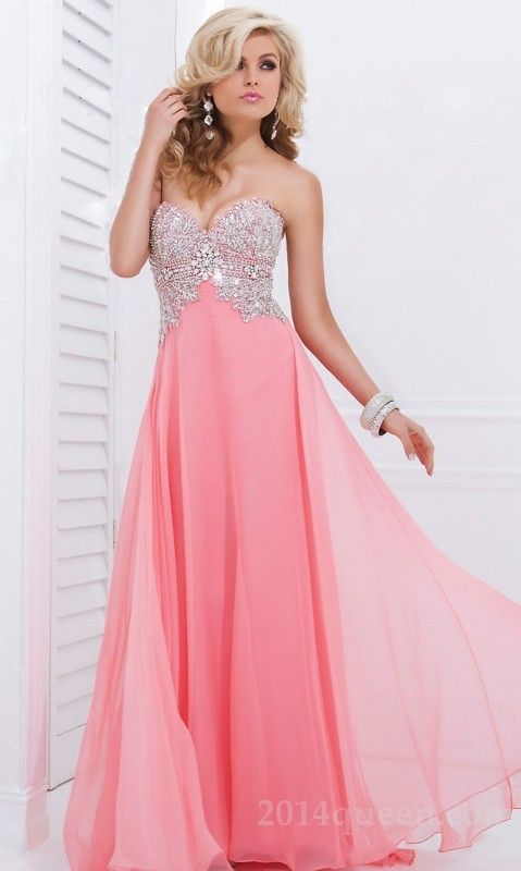Fashion A-Line Floor Chiffon Sweetheart Sleeveless Prom Dresses In ...