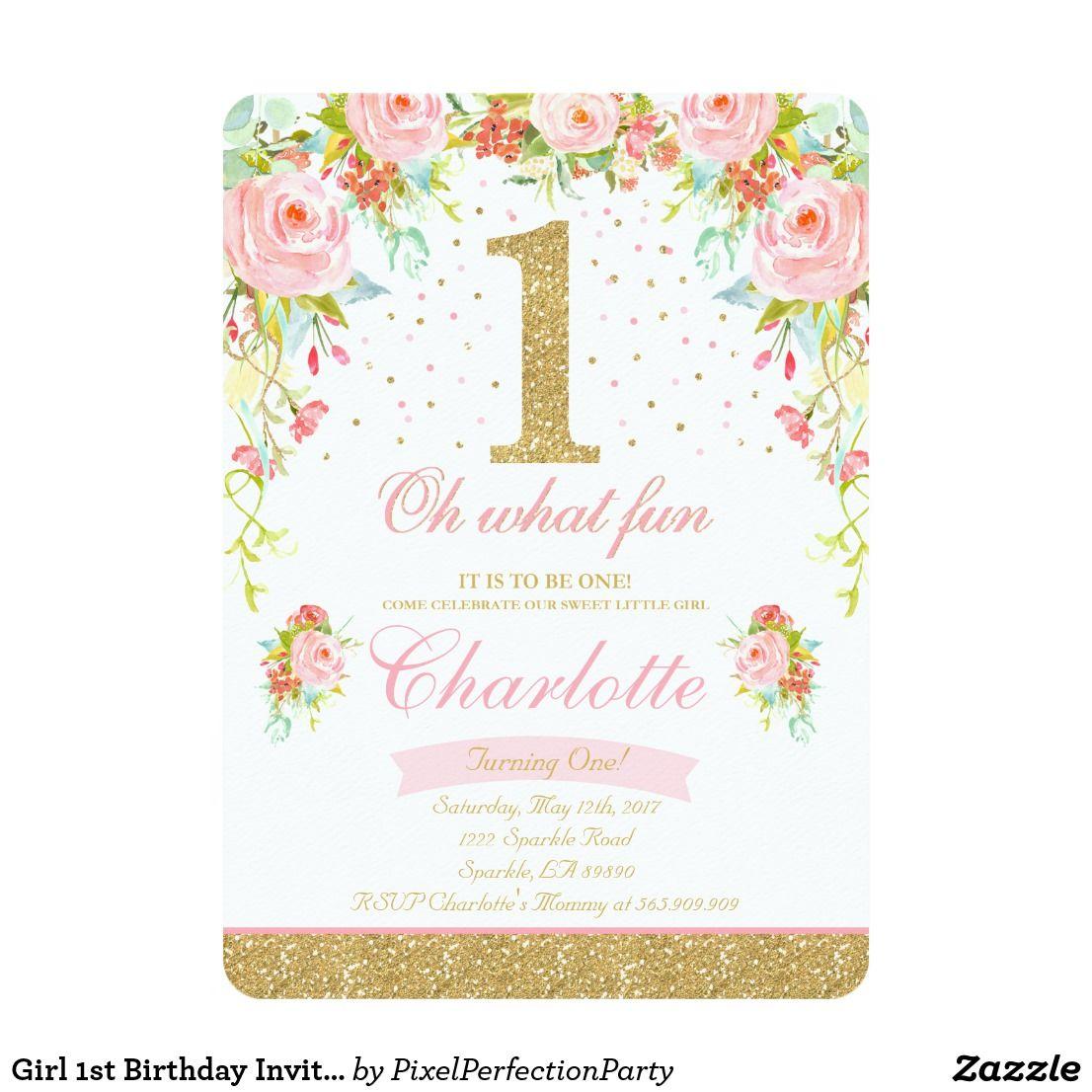 1st Birthday Invitation Fl Pink