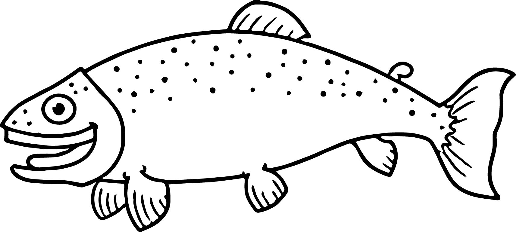 nice Little Happy Cartoon Fish Coloring Page Sheet Fish