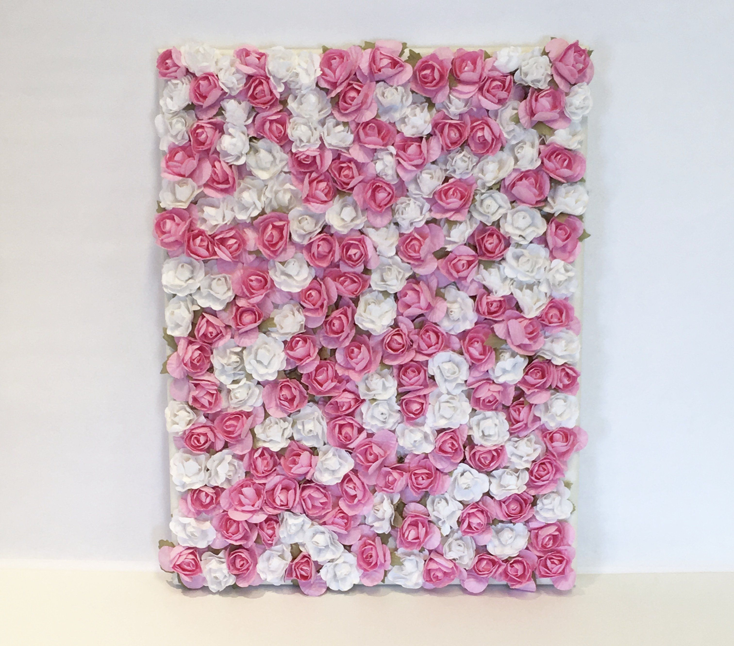 Pink and White Rose Paper Flower Wall Decor (11 x 14
