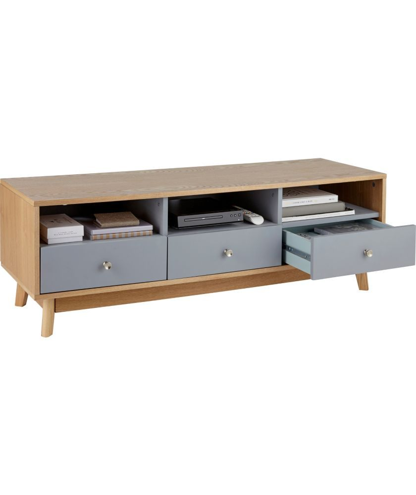 Buy foley 3 drawer tv unit grey at your for Bedroom units argos