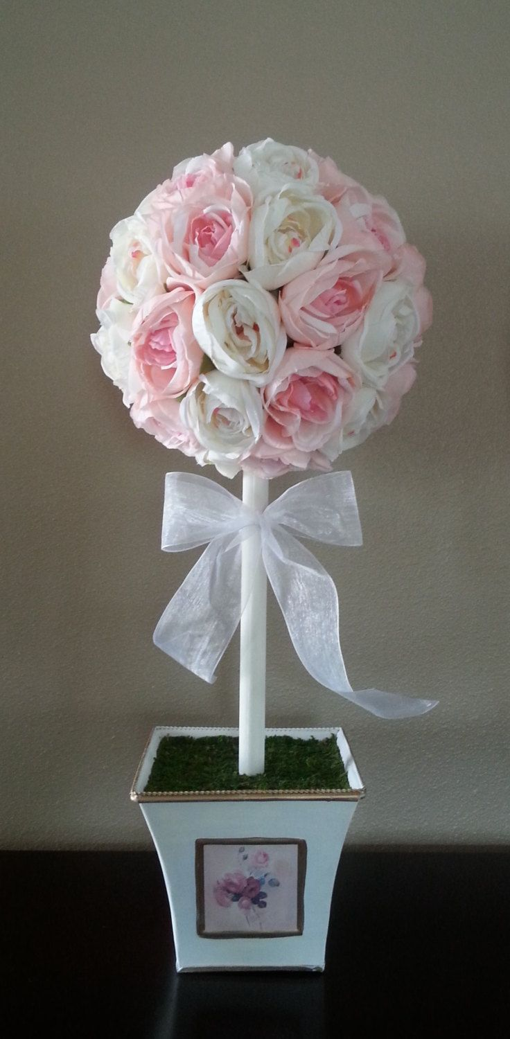 Artificial Flower Arrangement, Faux Flowers, Floral Arrangement, Topiary, Shabby Chic, Wedding, Centerpiece, Baby Shower, Silk Flowers, Rose - pinned by pin4etsy.com
