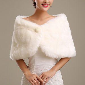 511be77ed Chal-Estola-Nupcial-Bolero-Piel-Sintetico-Blanco-para-Novia -Mujer-Boda-Wedding