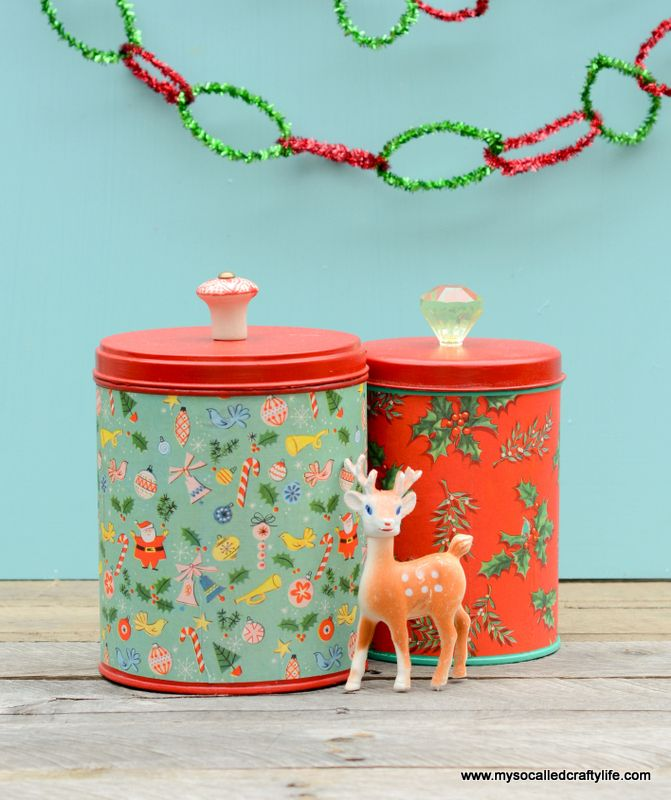 DIY Easy Upcycled Christmas Canisters