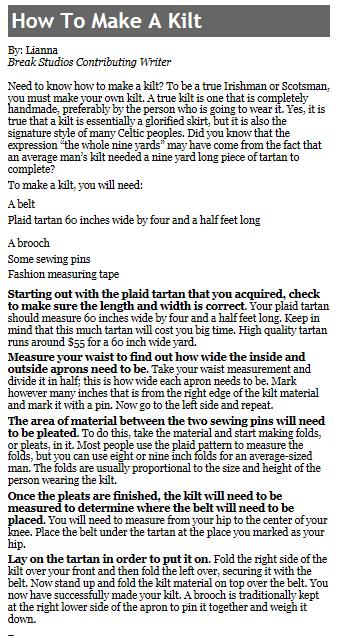 how to make a kilt | tartan / plaid / kilt stuff | Pinterest | Kilts ...