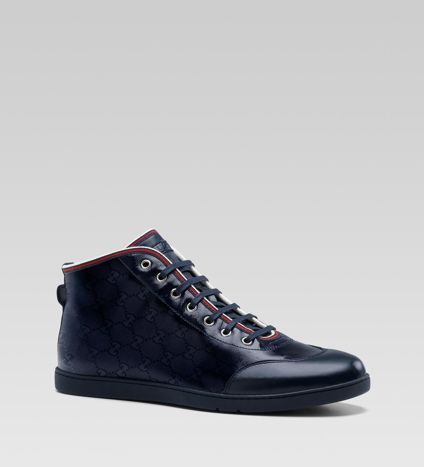 40b457b9c2076 Gucci - hi-top lace-up sneaker with blue GG imprimé