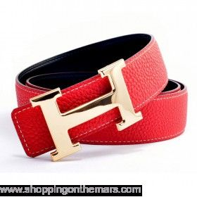 6c2cefc1c154 Hermes 1 1 Reversible Clemence Leather H Belt Red color with gold h buckle   119