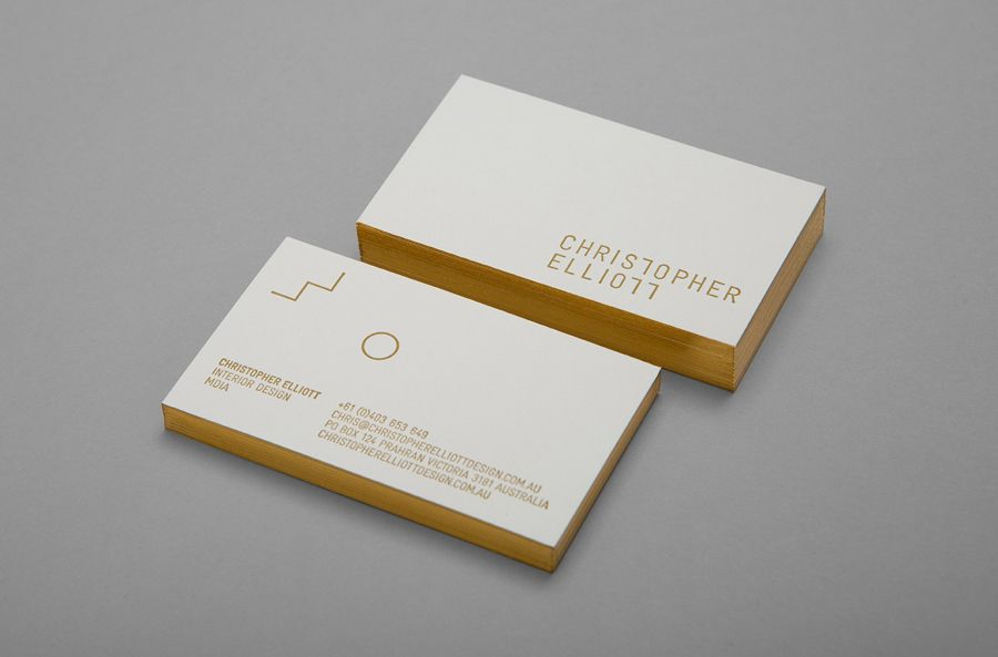 Gold Foiled Business Cards Created By Studio Brave For Australian Interior Designer Christopher Elliott
