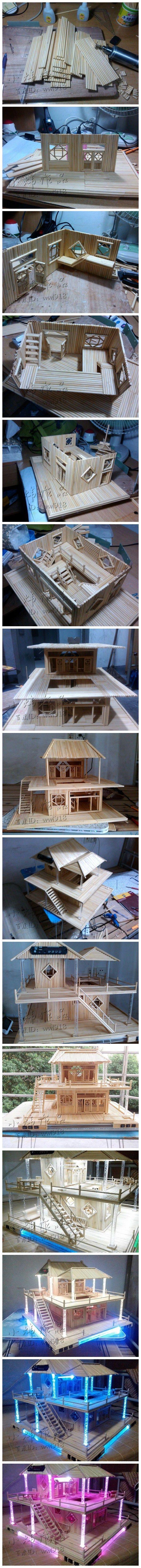 Modelos de casas com palitos.