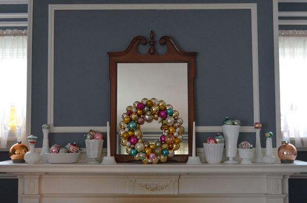 milk glass decorations holiday | Christmas Mantlescape: Milk Glass and Vintage Shiny Brite