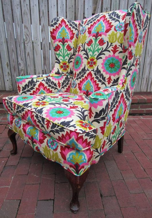 Delightful Upholstered Accent Chair // That Bold Floral Print!