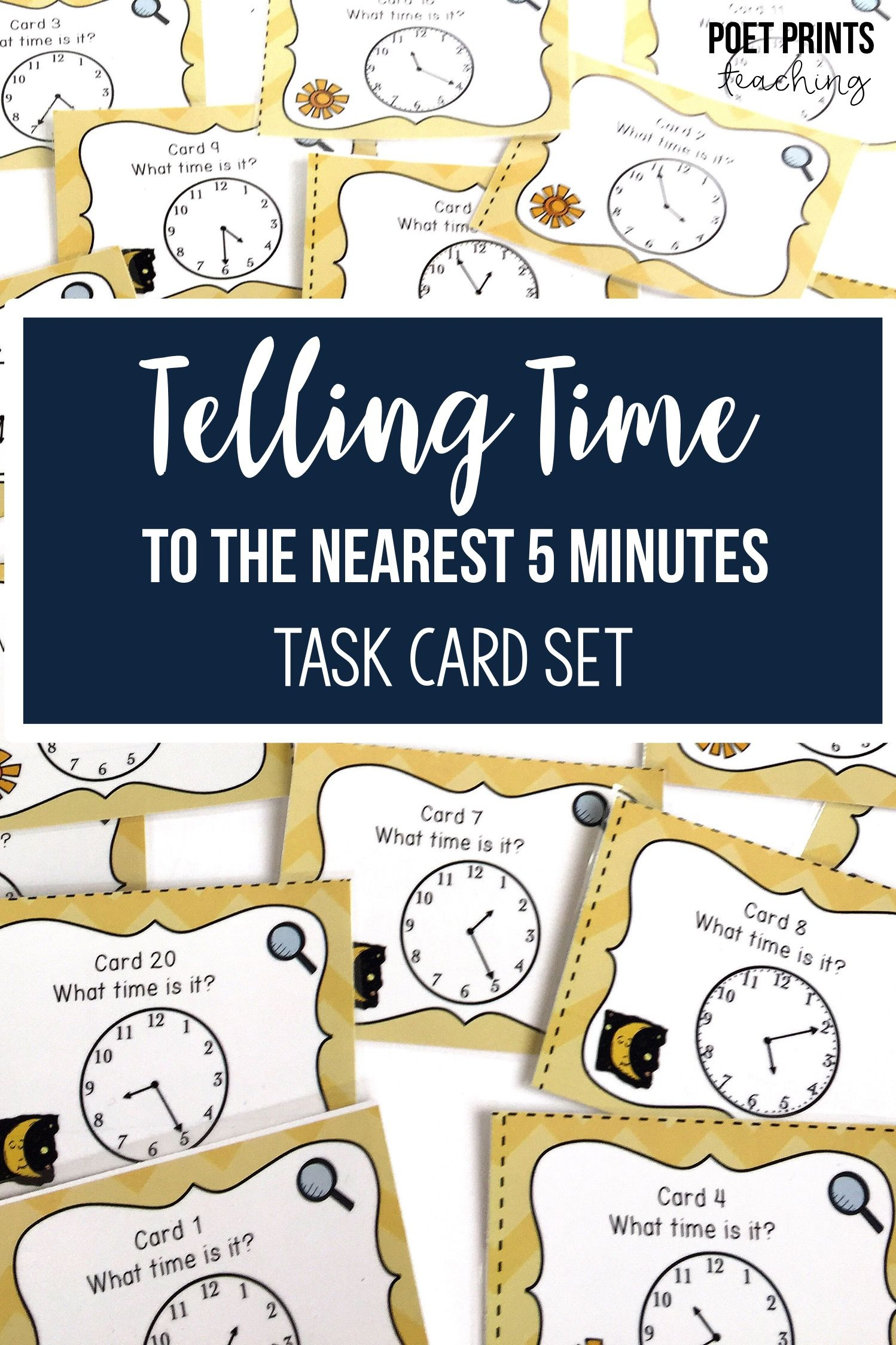 Telling Time To The Nearest Five Minutes Task Cards Math