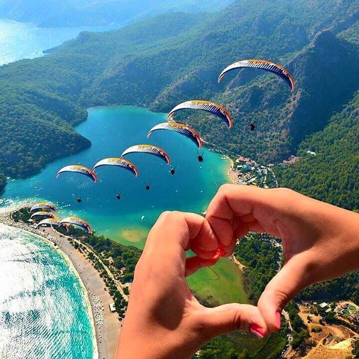 Paragliding over Oludeniz Beach in Turkey