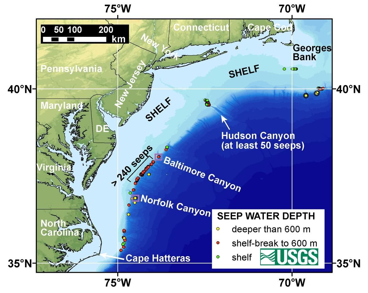 Map Of The US Atlantic Margin Showing Continental Shelf And - Map showing ocean depths