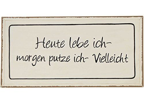 condecoro schild heute lebe ich shabby chic blechschild wandbild deko prints. Black Bedroom Furniture Sets. Home Design Ideas