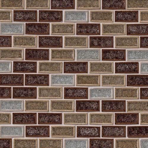 Fossil Canyon Blend Patterned Mosaic 1x2 On 12x12 Sheet Glass Mosaic Tiles Mosaic Glass Mosaic Tiles