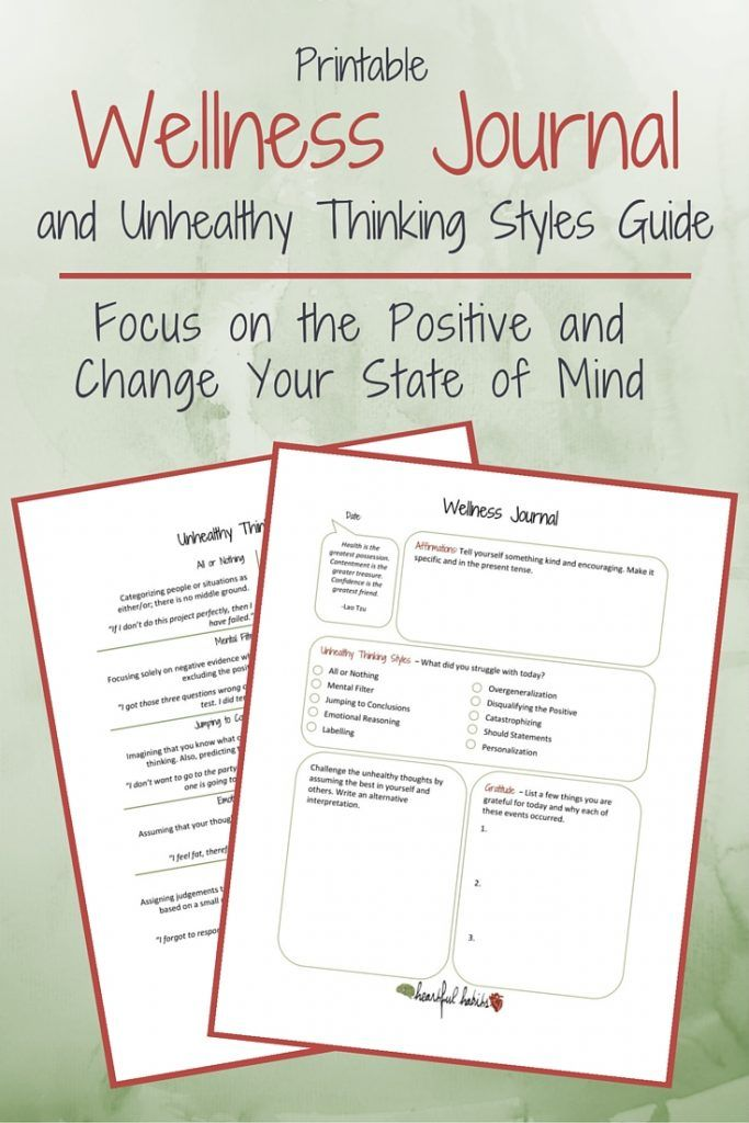 printable wellness journal and thinking styles guide pinterest