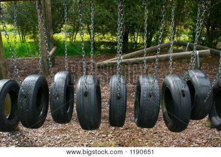 Tire playground obstacle course so much fun for the kids for Tire play structure