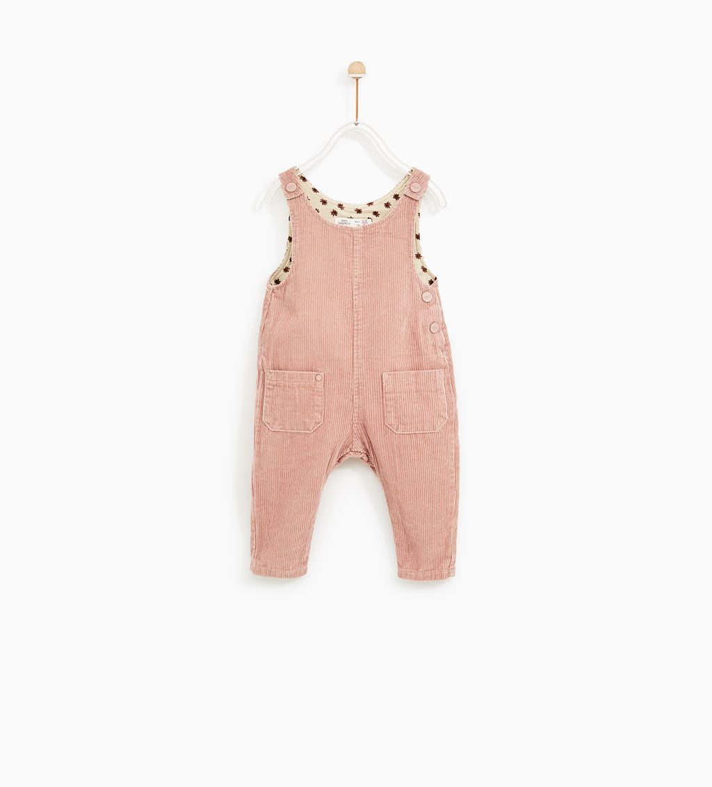 b7377217 CORDUROY DUNGAREES WITH FLORAL LINING-DRESSES-BABY GIRL | 3 months - 4  years-KIDS | ZARA United States