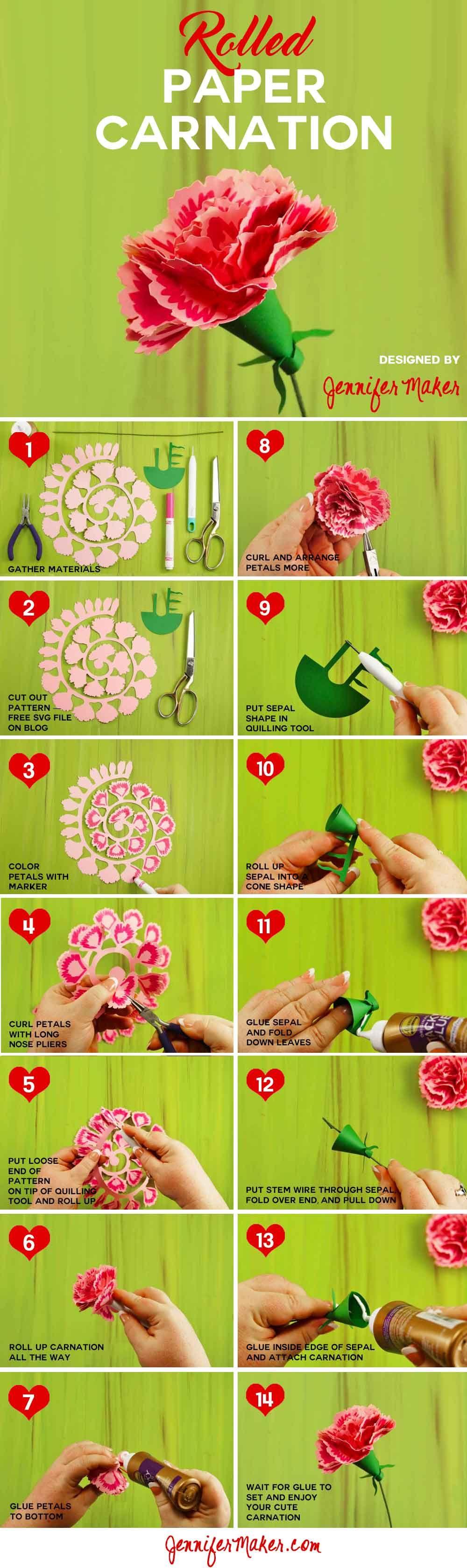 Rolled Paper Carnation Tutorial Free Svg Files Jennifer Maker Paper Flowers Diy Paper Flowers Flower Crafts