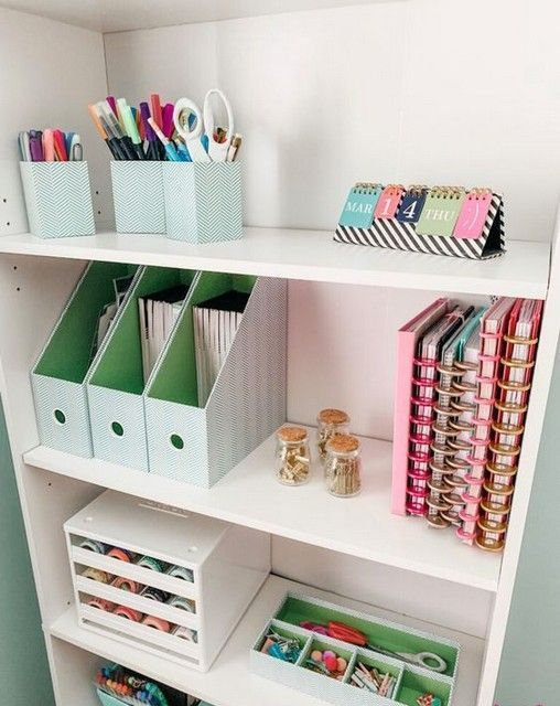 Open Study Room: An Open Storage Unit With Various Holders And Organizers