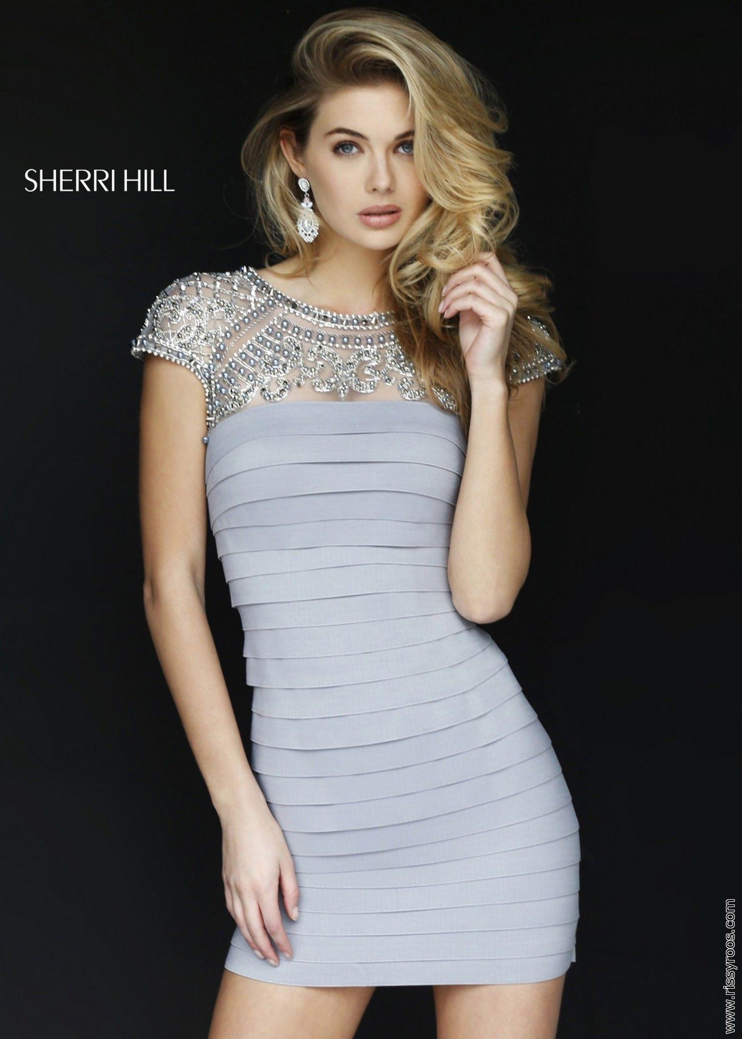 Sherri Hill 32282 Silver Beaded Cap Sleeve Bandage Dress - Homecoming  Dresses - Bodycon Dresses