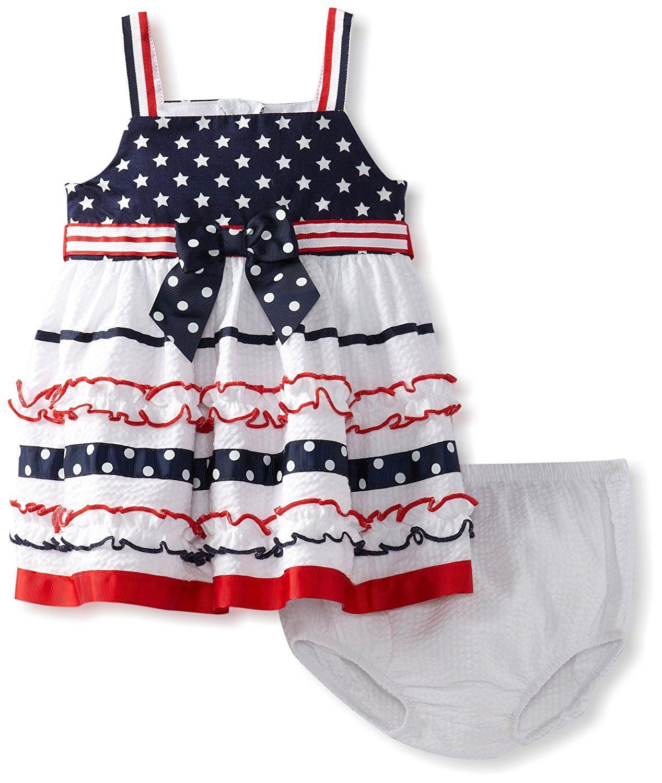 685904745c0ec Amazon.com: Bonnie Baby Girls' Stars And Ribbon Stripe Sundress: Infant And  Toddler Playwear Dresses: Baby