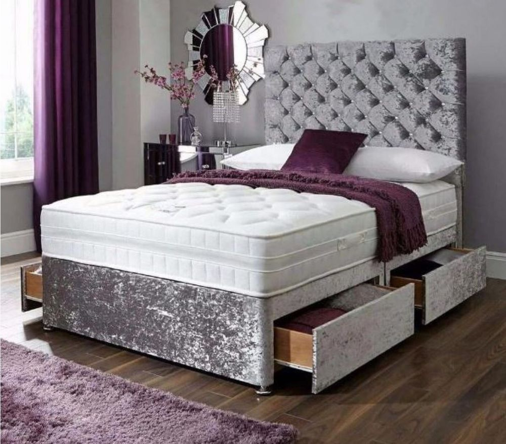 Details about CRUSHED VELVET 4FT6 SILVER DIVAN BED WITH