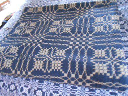 Family Heirloom Weavers Sea Star Jewels Pattern Blue Linen Linen Family Heirloom Weaving