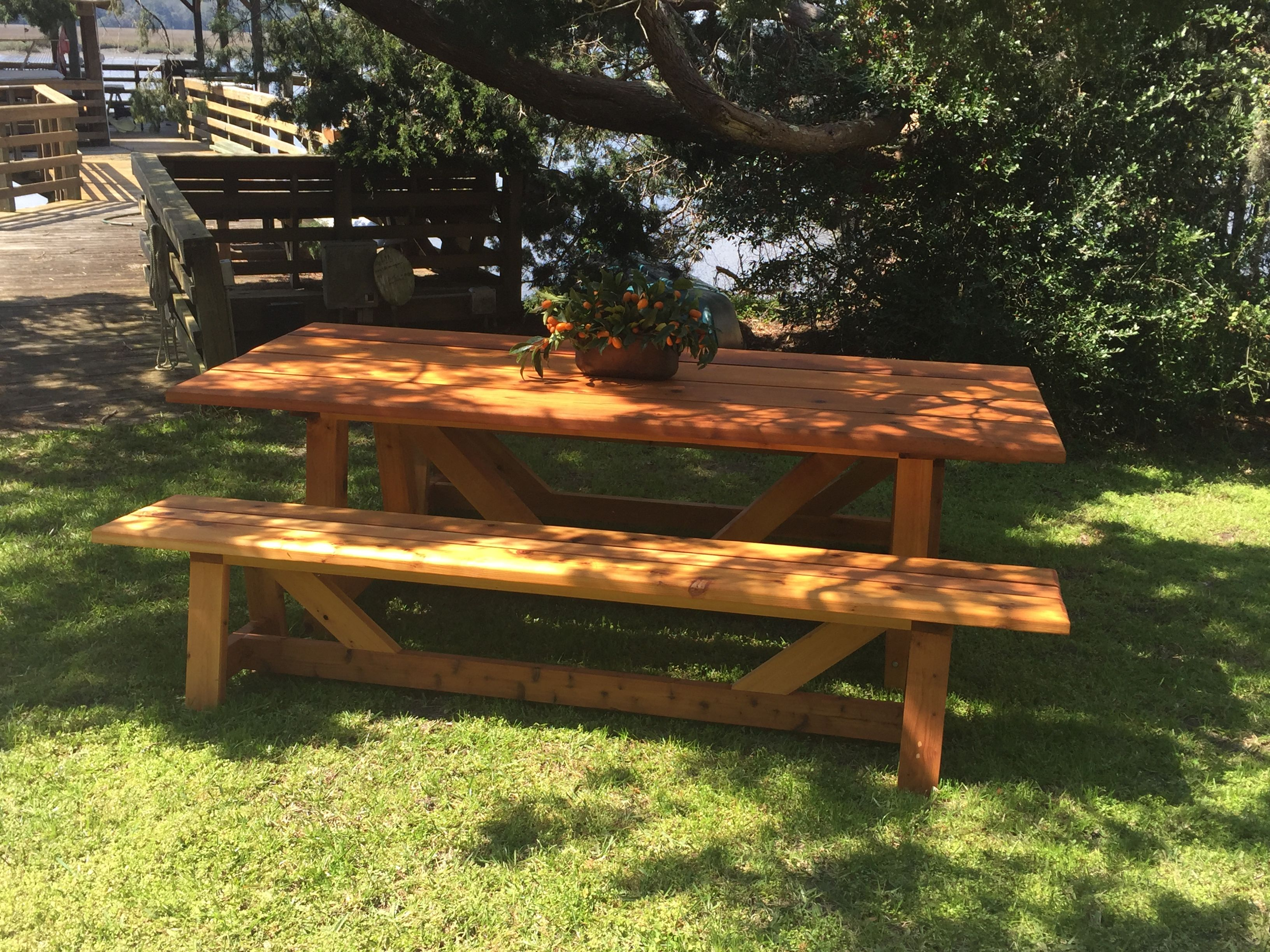 Outdoor Picnic Table Made From Western Red Cedar Using Penofin Wood Care Products To Give It That Beautifull Outdoor Picnic Tables Picnic Table Outdoor Tables