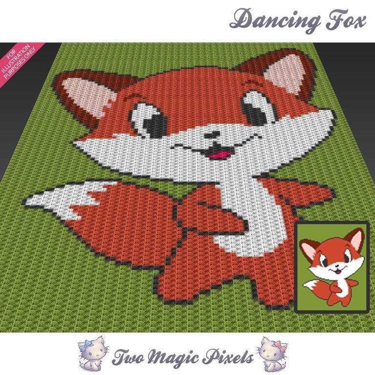Dancing Fox C2c Crochet Graph Afgans Couvertures Et Jettées