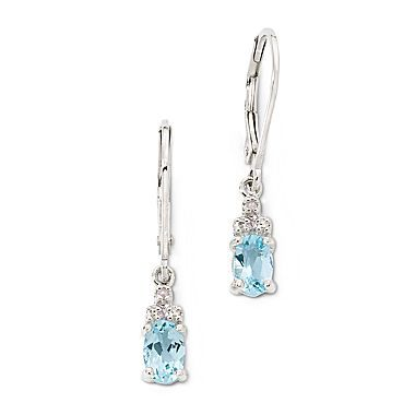 Earrings, Sterling Silver Blue Topaz Oval - jcpenney