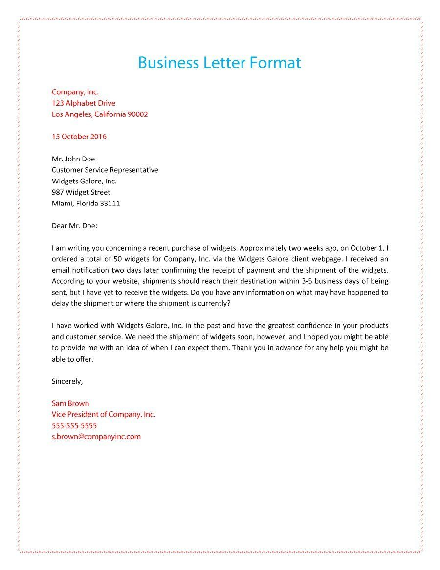 Formal Business Letter   Business Letters