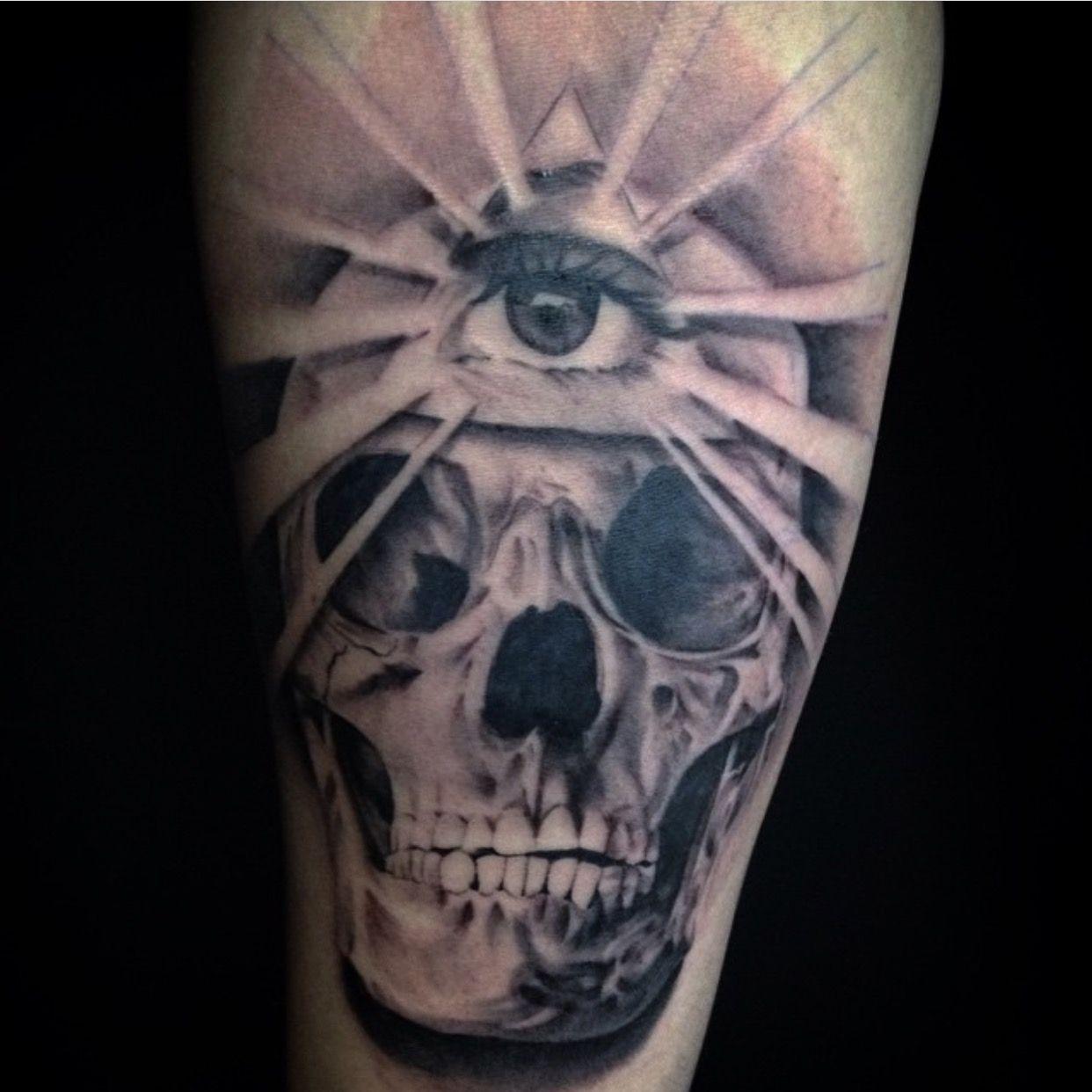 Third Eye Tattoo: Third Eye Tattoo Skull Black And Grey
