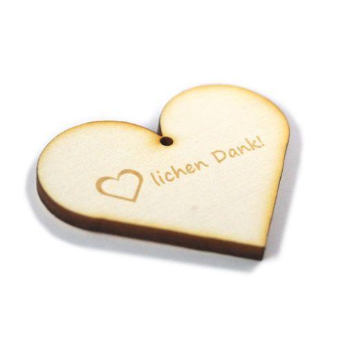 Geschenkanhänger Aus Holz Herzen Herzlichen Dank Mit