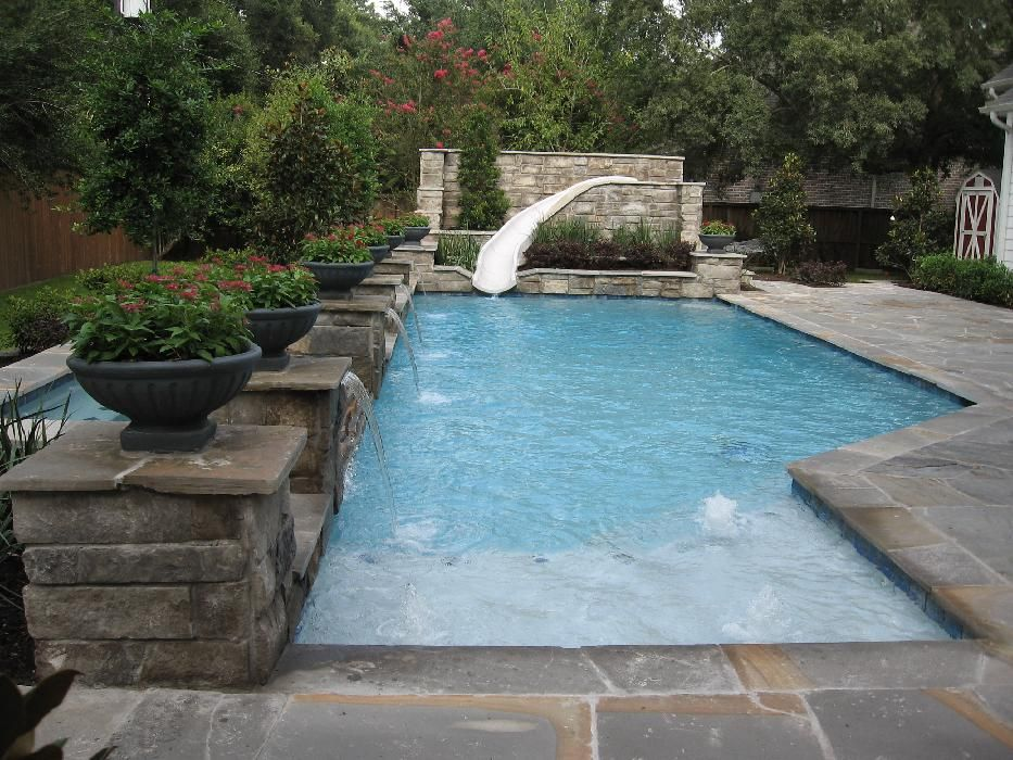 Pool W Slide Backyard Pool Small Backyard Pools Swimming Pools Backyard