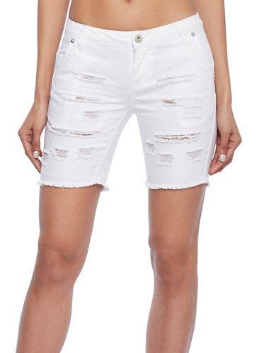 Distressed Denim Cutoff Bermuda Shorts,WHITE | Casual Wear ...