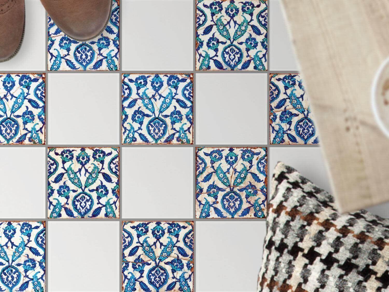 Carrelage Adhesif Decoratif Au Sol Stickers Mosaiques Rangement Cuisine Motif Hamam Vibes 10x10 Cm 9 Pieces 3x3 Amazon Fr Cuisine Maison