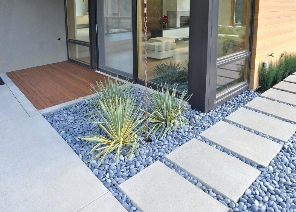 Image Result For Modern Concrete Pavers With Grass Between Pebble Landscaping Backyard Garden Layout Backyard Garden Design