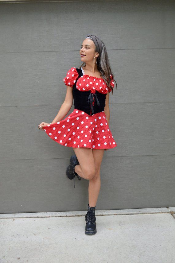 Vintage Minnie Mouse Adult Costume Red And White Polka Dot Mini