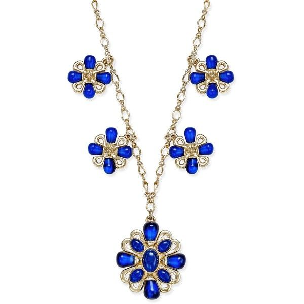 Charter Club Gold-Tone Blue Stone Flower Medallion Necklace, ($40) ❤ liked on Polyvore featuring jewelry, necklaces, gold, stone flower necklace, flower jewellery, medallion necklace, chain necklaces and blue stone necklace