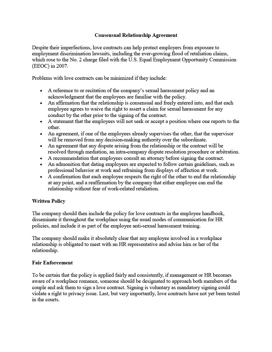 Relationship Agreement Template Free Printable Relationship Contract Template Relationship Contract Relationship Agreement