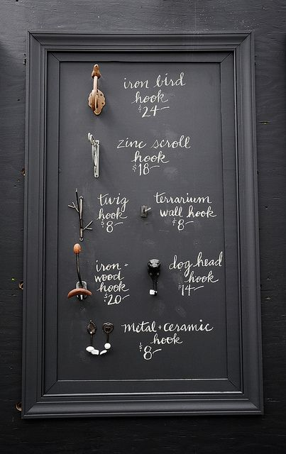 Hooks with Handwritten Chalk Signage by Creature Comforts, via Flickr