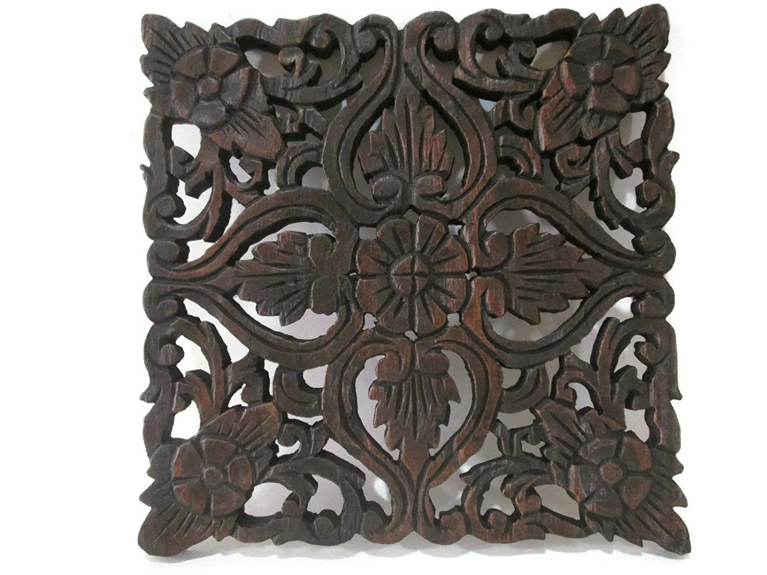 Square floral and heart handmade thai teak wood carving wall art