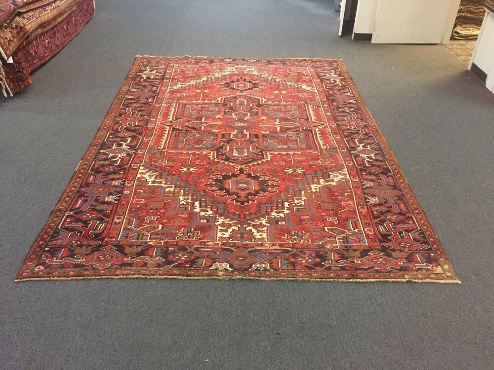 1 This Rug Is Real Original Hand Knotted Persian Tabriz Heriz Design Made Of 100 Wool It Is Not Machine Made Rugs On Carpet Carpet Sale Geometric Carpet
