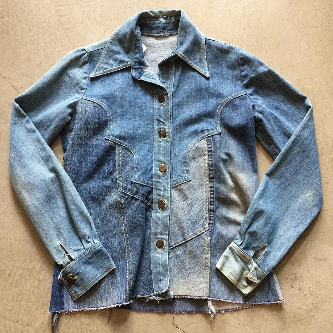 """70's Patchwork Denim Shirt $58+$8(shipping) domestic. Size S/M (26""""x19""""). Contact the shop at 415-796-2398 to purchase by phone or PayPal afterlifeboutique@gmail and reference item in post."""
