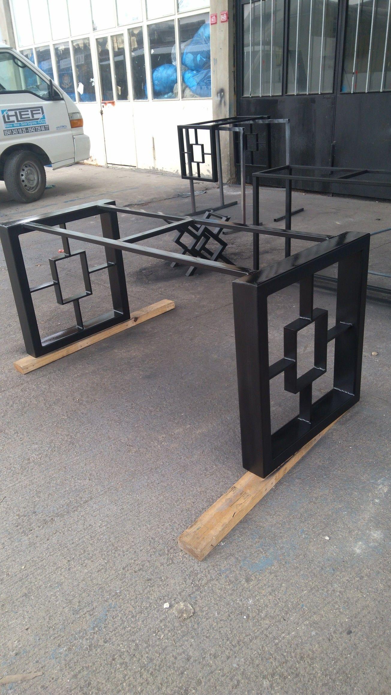 Hef Makina Metal Demir Dograma Ferforje Dekoratif Masa Ayaklari