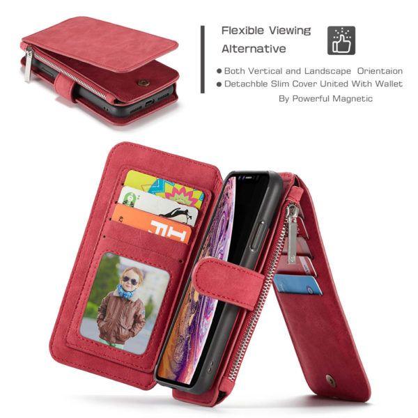 CaseMe iPhone XR Zipper Wallet Flip Folio Case