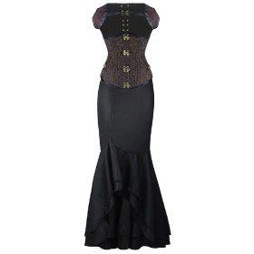 dobby steel boned brown gothic steampunk underbust corset
