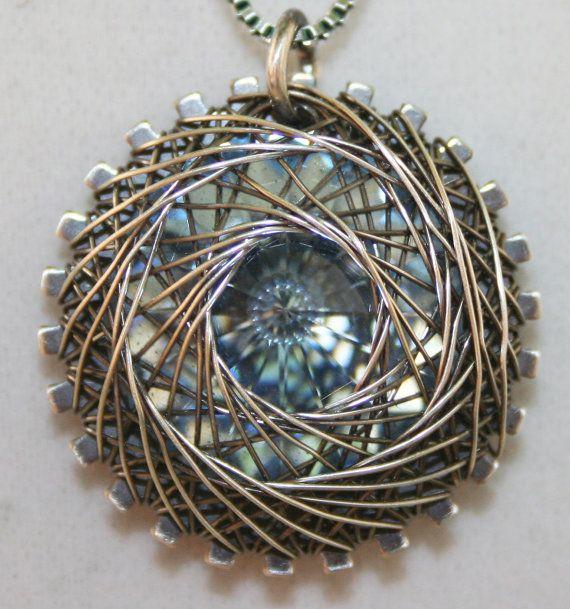 Handmade Sterling Silver Spiro (Spiral) Wire Wrapped Necklace With 18 mm Light Blue Swarovski Rivoli